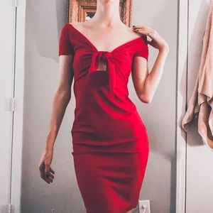 Slinky Red Zara tie front dress